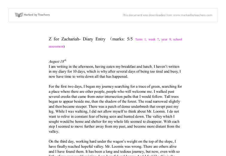continuation of z for zachariah gcse english marked by  document image preview