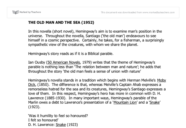 hemingway s the old man and the sea complete set of notes page  document image preview