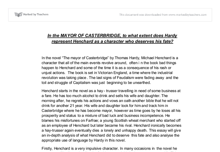 coincidence in the mayor of casterbridge essays The mayor of casterbridge questions and answers - discover the enotescom community of teachers, mentors and students just like you that can answer any question you might have on the mayor of casterbridge of casterbridge firstly, you can talk about the role of coincidence as a stylistic element in this novel.