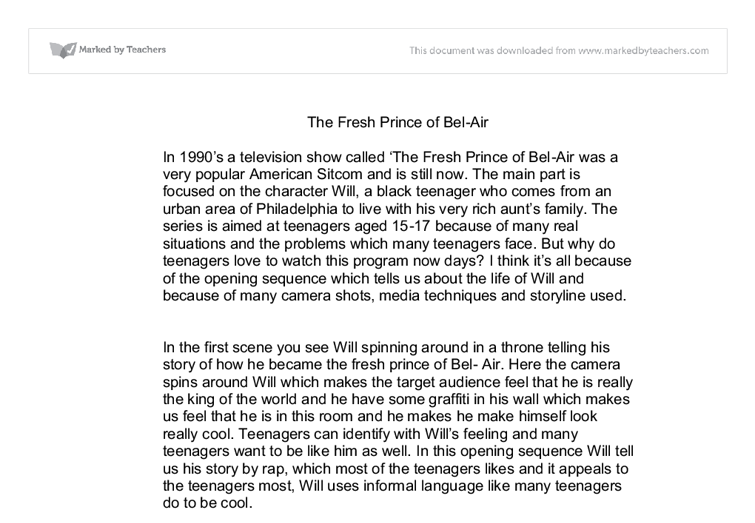the fresh prince of bel air essay Fresh prince of bel-air - assignment example  we will write a custom essay  sample on any topic specifically for you for only $1390/page.