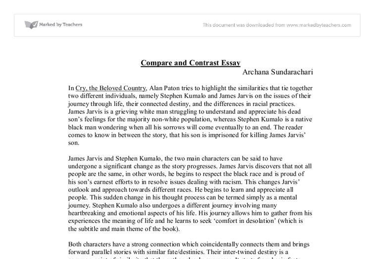 Cry the beloved country compare and contrast essay gcse english
