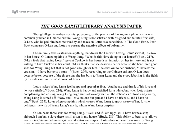 the good earth literary analysis paper gcse english marked by