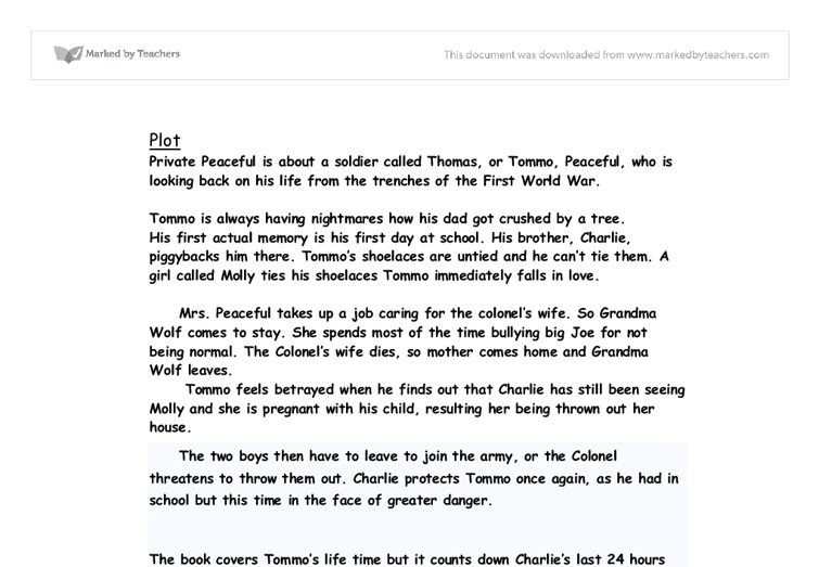 private peaceful review gcse english marked by teachers com document image preview