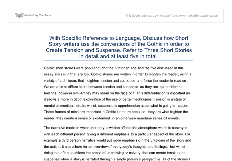 specific reference to language discuss how short story  document image preview