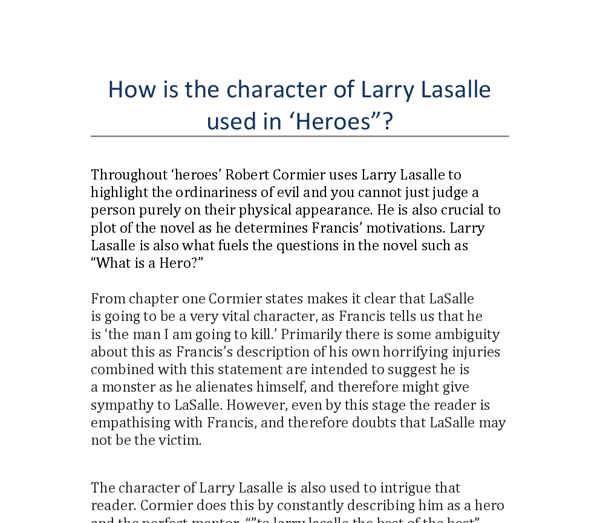 how is the character of larry lasalle used in robert cormier s  document image preview