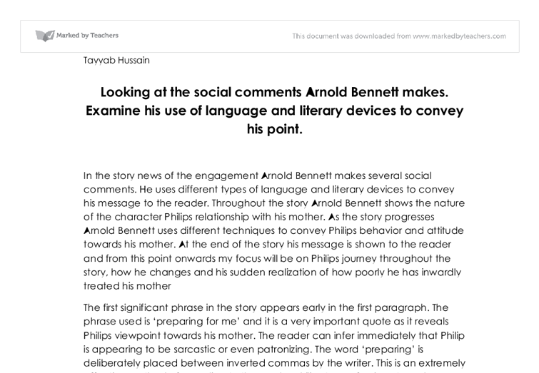 aronald bennet essay Essays and criticism on arnold bennett, including the works the old wives' tale, riceyman steps - magill's survey of world literature.