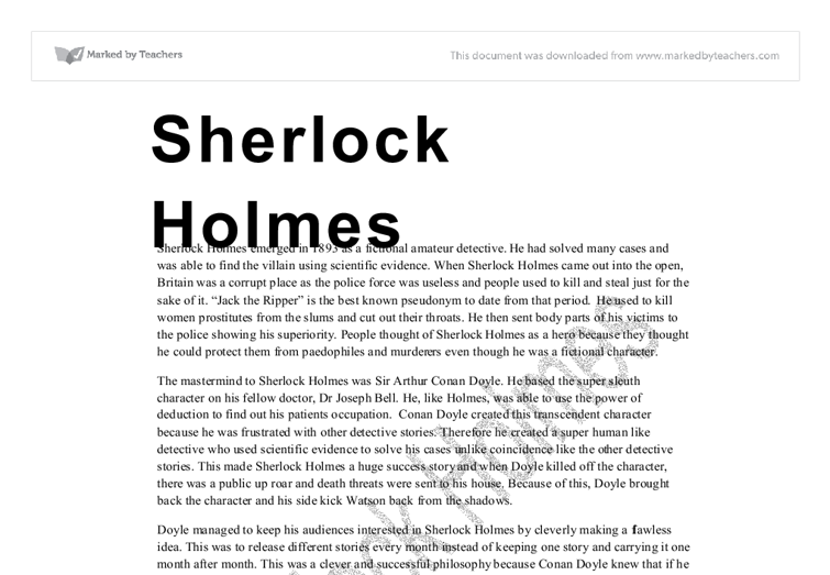sherlock holmes gcse essays Coursework for sherlock holmes how to write sherlock holmes coursework.