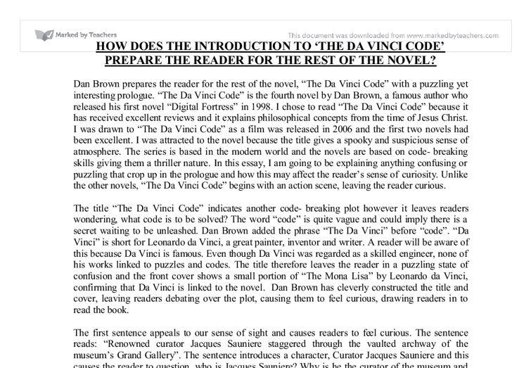 the da vinci code essay