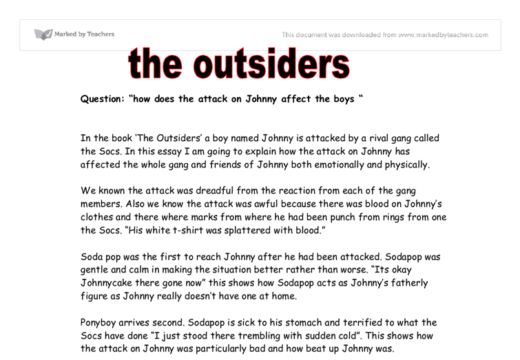 essay for the outsiders Essay on the outsiders - why be concerned about the essay receive the necessary assistance on the website let professionals deliver their tasks: get the required.