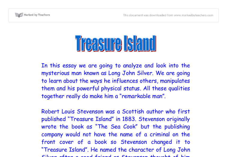 treasure island gcse english marked by teachers com document image preview