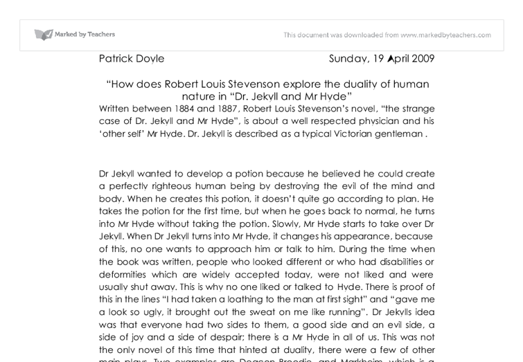 jekyll and hyde human nature essay Essays and criticism on robert louis stevenson's the strange case of dr jekyll and mr hyde - critical essays.
