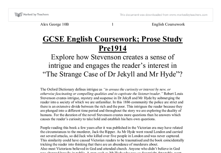 how does stevenson create intrigue in dr jekyll and mr hyde gcse  document image preview