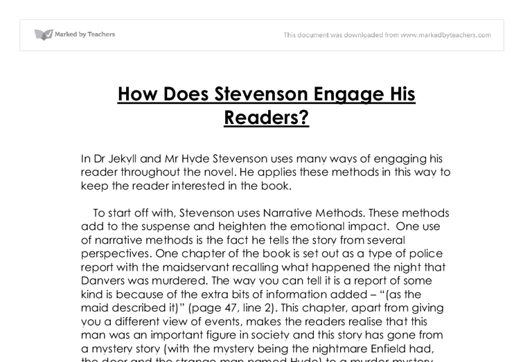 how does stevenson create intrigue How does stevenson use secrets to make jekyll and hyde dramatic the images used on text f are there to create intrigue – this is the point of a blub.