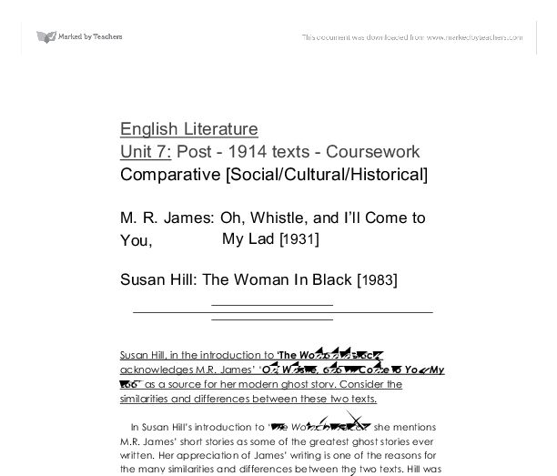 the woman in black by susan hill essay Feedback for year 11 on the woman in black essay question how does susan hill present the woman in black as a character of mystery and fear having close marked a selection of your essays.