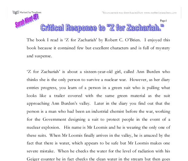 critical response to z for zachariah gcse english marked by  document image preview
