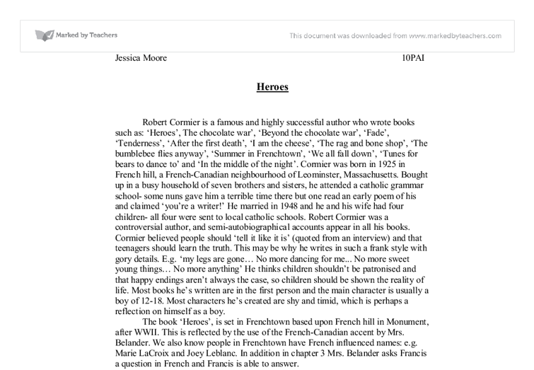 heroes the book by robert cormier essay