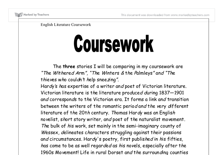English Coursework Help - English Literature Coursewrok Writing