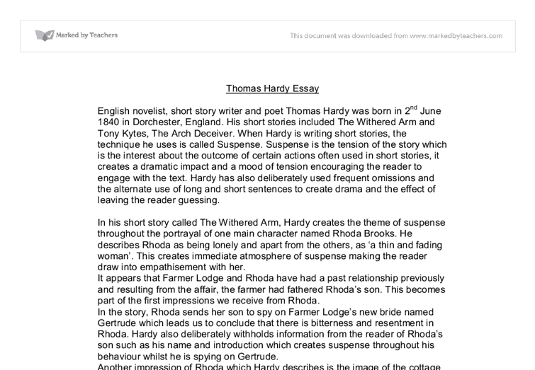 Essay questions on thomas hardy