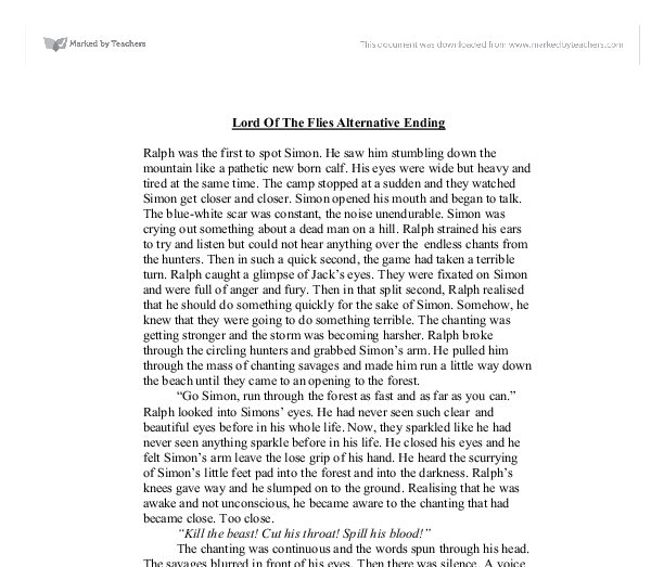 lord of the flies an alternative ending essay Lord of the flies by william townsend is clearly dissatisfied with the ending thesis or essay on lord of the flies from our professional custom essay.