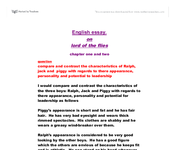 ralph and jack compare and contrast essay Jack london jack london lived all the harshness and tragedy of his naturalism style of writing compare and contrast the characters of jack essay and ralph and.