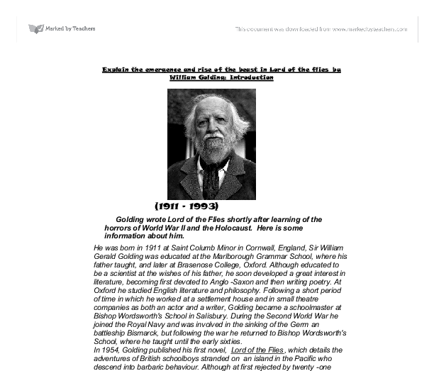 how does golding show conflict in lord of the flies essay William golding lord of the flies outline 1 introduction 2 william golding a life b list of novels 3 lord of the flies c golding s motivation to.