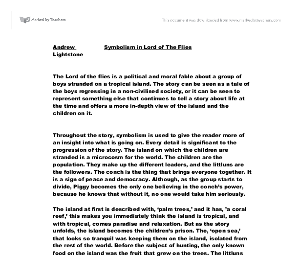 lord of the flies essay the lord of the flies practice essay year  lord of the flies symbolism essay