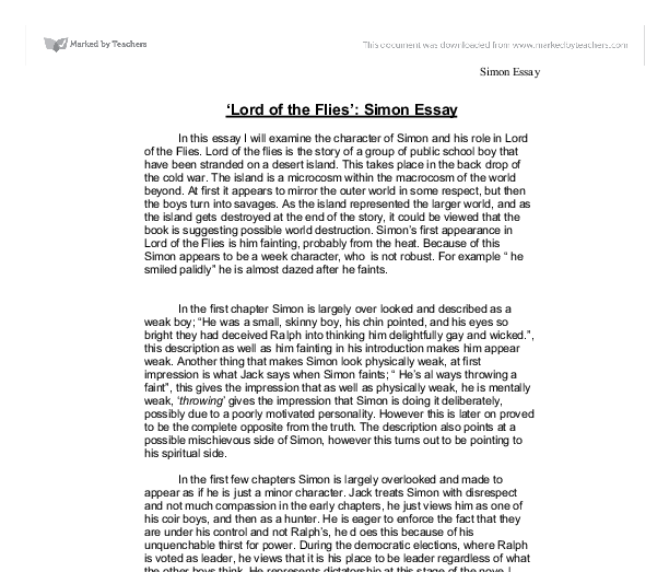Lord of the flies simon essay gcse english marked by teachers com