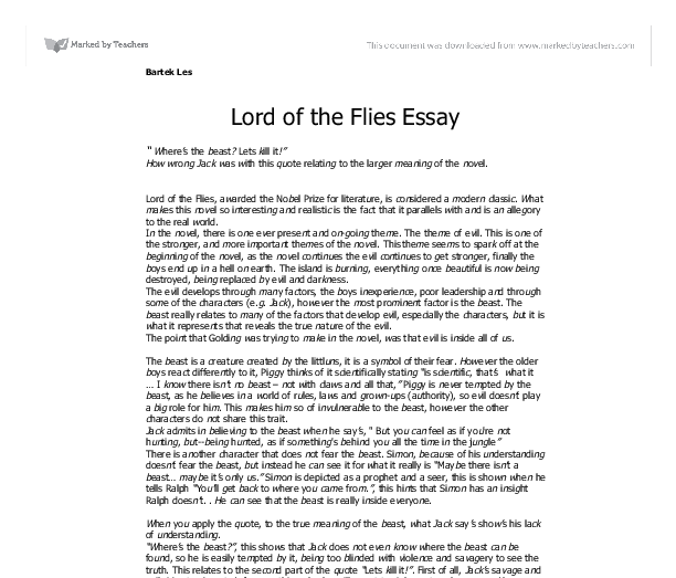 Lord of the Flies – sample essay. | Home of The Brave