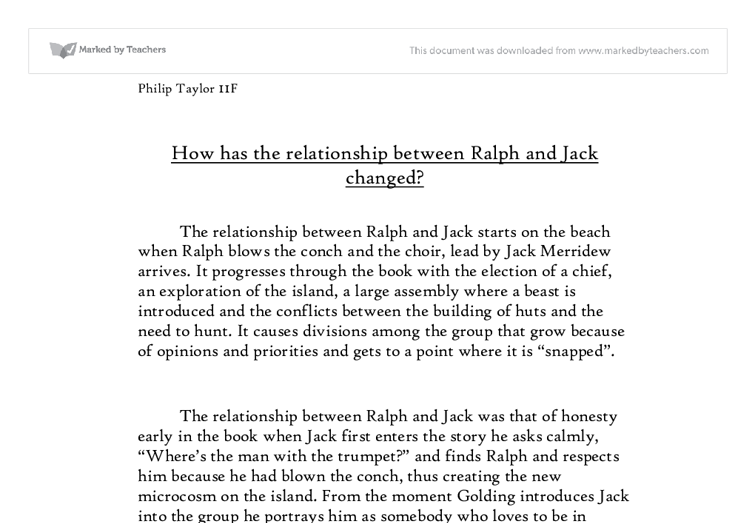 compare the relationship between ralph and A summary of chapter 3 in william golding's lord of the flies learn exactly what the personal conflict between ralph and jack mirrors the overarching.
