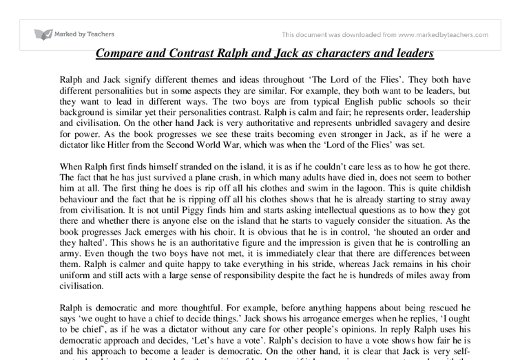 Lord Of The Flies Jack Essay Compare And Contrast Ralph And Jack As
