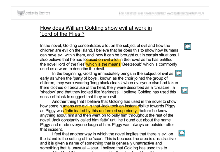 lord of the flies essay innate evil roger Get an answer for 'explain how william golding shows the evil within us this will be for my essay but in chapter 4 of lord of the flies, why does roger.