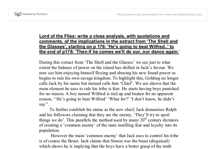 lord of the flies close analysis essay Lord of the flies close reading analysis lord of the flies sign up to view the whole essay and download the pdf for anytime access on your computer.