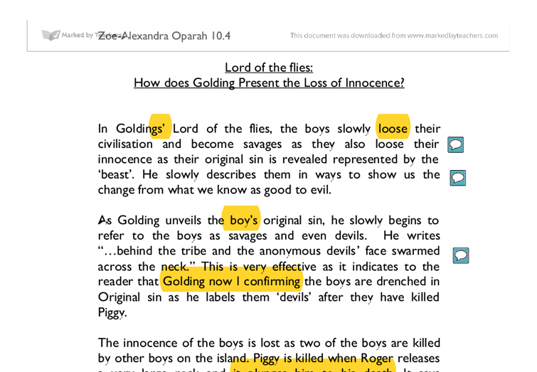 lotf essay lord of the flies versus the hunger games essay bie tpt  lord of the flies how does golding present the loss of innocence document image preview
