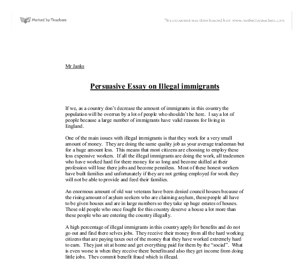 Persuasive essay on immigration