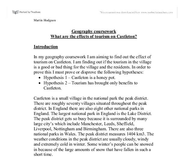 gcse geography coursework castleton