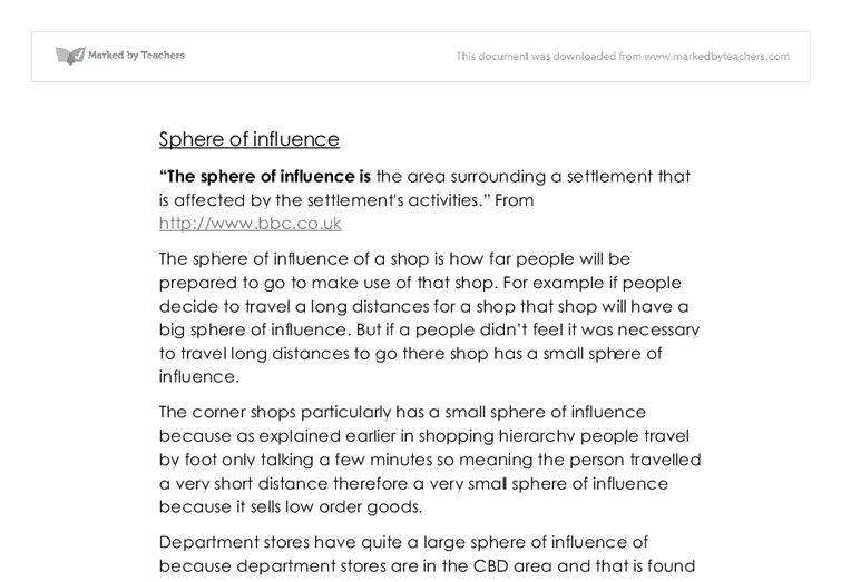 sphere of influence essay