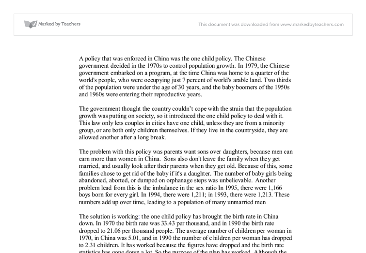 One child policy in china essay - Top Quality Writing Help & School ...
