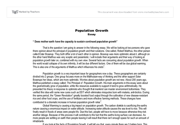 Example of an Essay on Population
