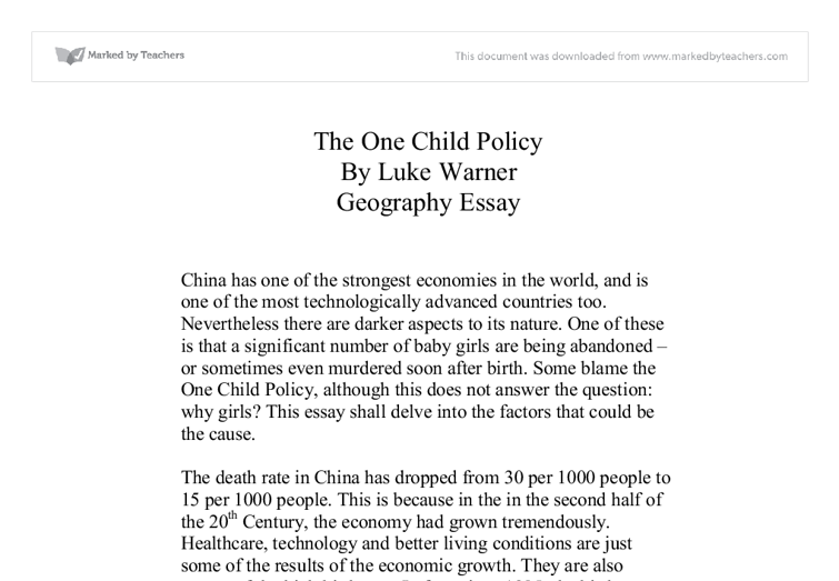 chinas one child policy essay Free essay on china's one child policy available totally free at echeatcom, the largest free essay community.