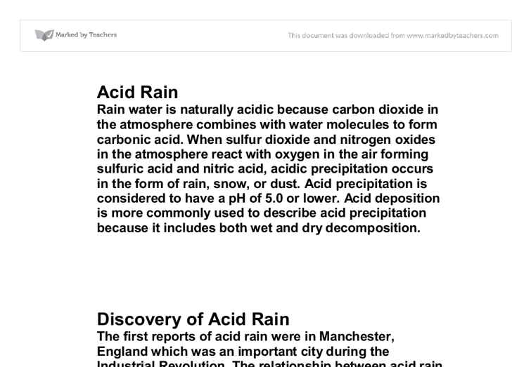 Research paper on acid rain