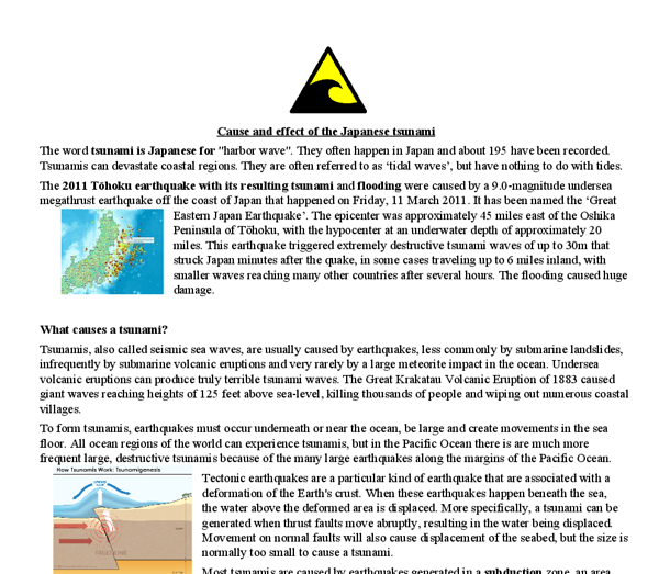 tsunami cause and effect essay The typical cause is an earthquake under the ocean floor tsunamis can also be caused by huge landslides into bodies of water, or by the impact of a large enough.