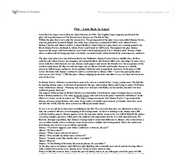 Look back in anger summary pdf file