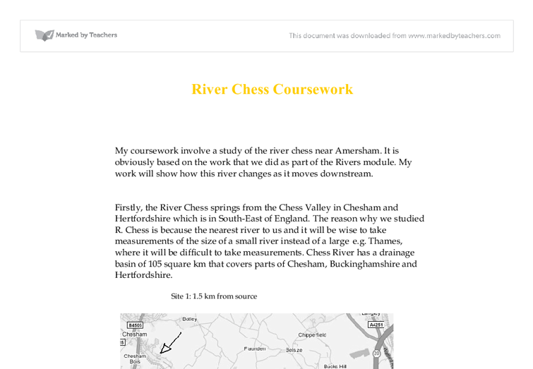 gcse geography river study coursework Producing the student portfolio for controlled assessment and case studies gcse ocr geography gain case study knowledge of a variety of river landforms.