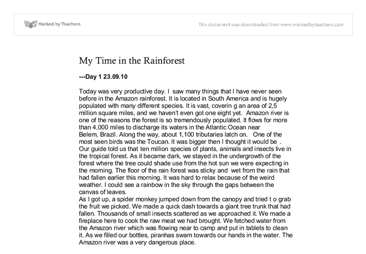 save the rainforest essay example In this lesson students assume the role of the stake holders in the rainforest debate using microsoft outlook for example, students may select the save sent message to check box.