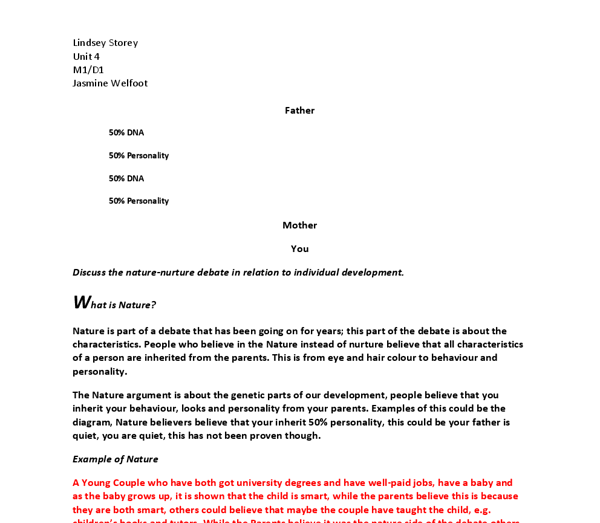 nature and nurture debate essay The nature/nurture debate in childhood development the nature/nurture debate is the controversy surrounding the relative influence of environment and heredity on children's behaviour particularly, does nature and nurture interact questions include is language acquired because the environment demands it or because.