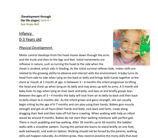 sample child observation summary