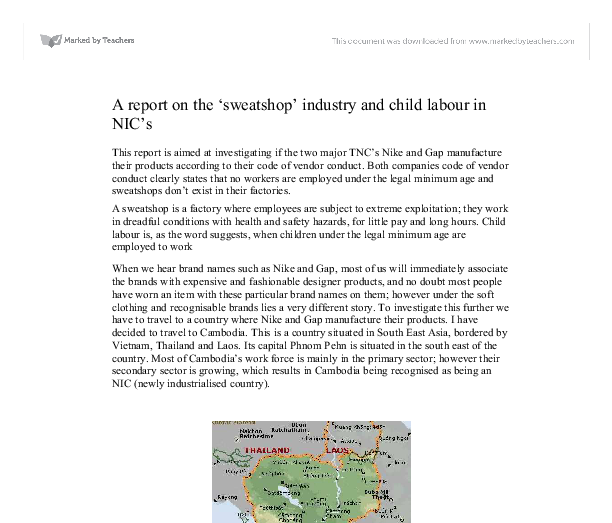 report on the 'sweatshop' industry and child labour in NIC's. - GCSE ...