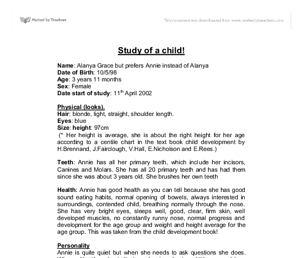 child development study of a child gcse health and social care  document image preview