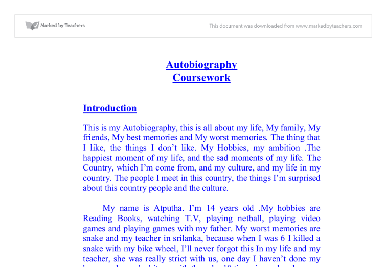 Autobiographical Narrative Essay Examples