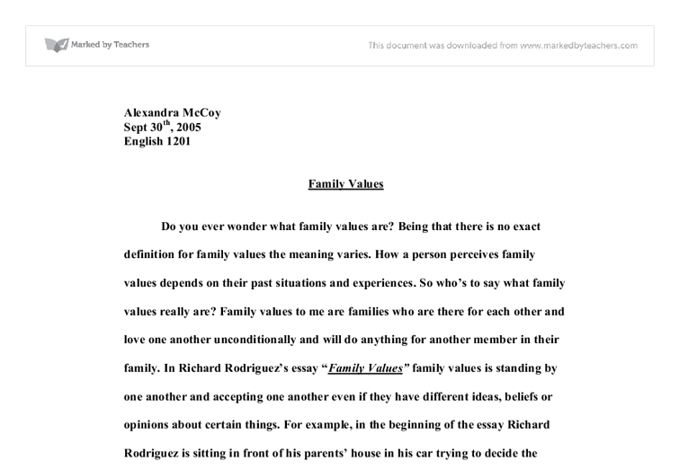 american family values essays Family values involve all of the ideas of how you sample family values list although every family's list of values importance of family values american.